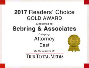 2017 Readers' Choice Gold Award presented to Sebring & Associates Category: Attorney - East By the readers of Trib Total Media